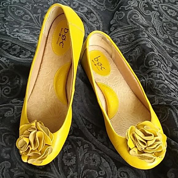 Born Mustard Yellow Ballet Flats Flower